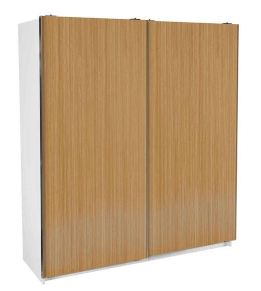 Armario 180x200x60 cm 2 ptas corr bl roble cl ref for Armarios roperos puertas correderas