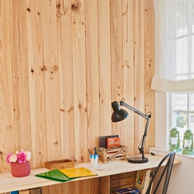 Revestimiento de pared rastrelado leroy merlin for Paneles para paredes interiores