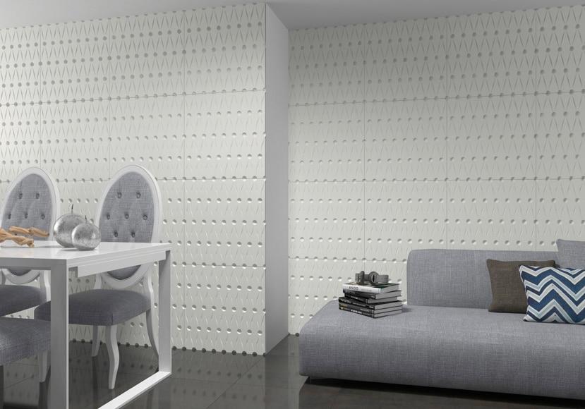 Revestimiento para pared de pvc fractal rombos blanco ref - Revestimiento adhesivo pared ...