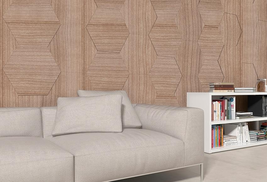Revestimiento adhesivo hexagonal nogal ref 16799370 for Revestimiento adhesivo madera