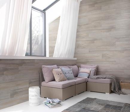 Revestimiento de pared grosfillex pvc datcha gris ref for Revestimiento paredes interiores pvc