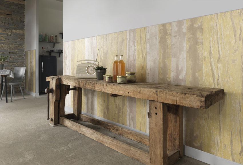 Revestimiento de pared grosfillex cabane amarillo ref for Revestimiento pared imitacion madera