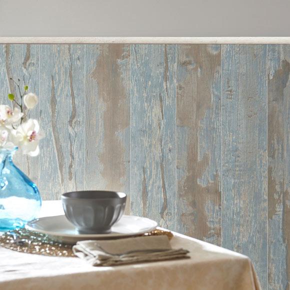 Revestimiento para pared de pvc cabane azul ref 18575501 Revestimiento pared imitacion madera
