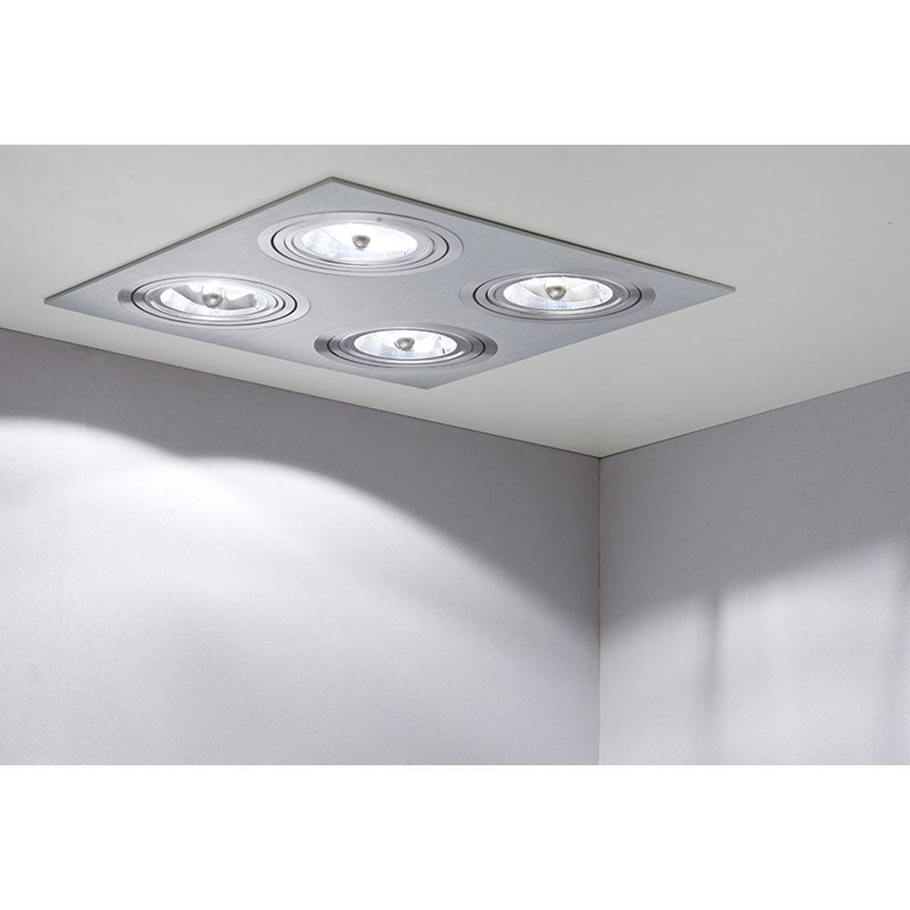 Foco de 4 luces serie kardan cuadrado aluminio 35 cm ref - Focos de techo leroy merlin ...