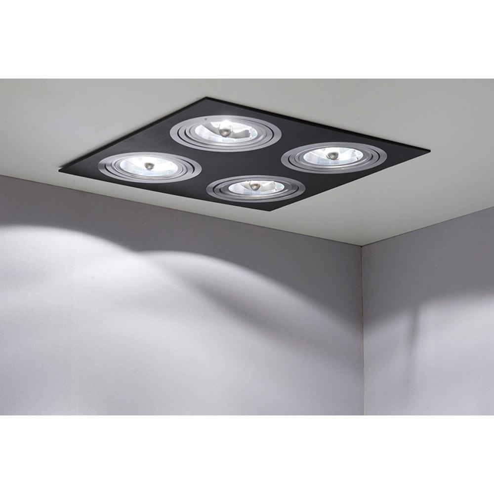 Foco de 4 luces cristalrecord serie kardan negro ref - Focos de techo leroy merlin ...