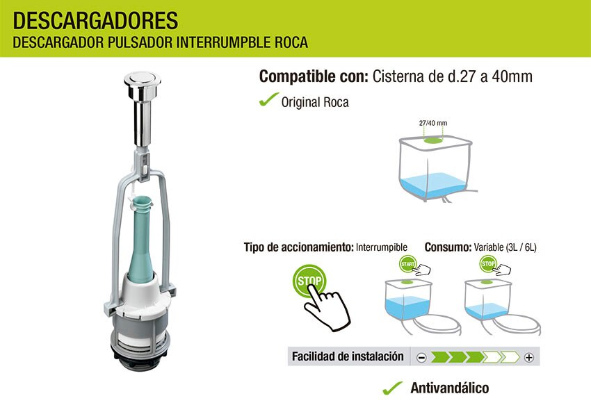 Descargador simple e interrumpible roca ref 18394656 for Descargador de cisterna