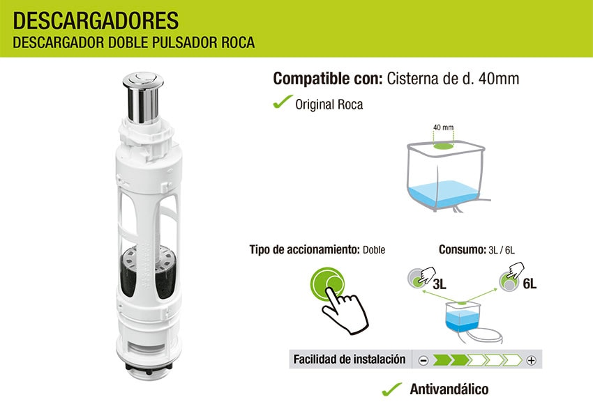 Descargador doble roca ref 18394845 leroy merlin for Descargador de cisterna