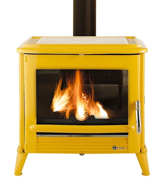 Estufa de hierro fundido invicta moderna amarilla ref - Estufa de hierro ...