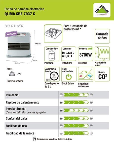 Estufa de parafina electr nica qlima sre 7037 ref - Estufa de parafina electronica ...