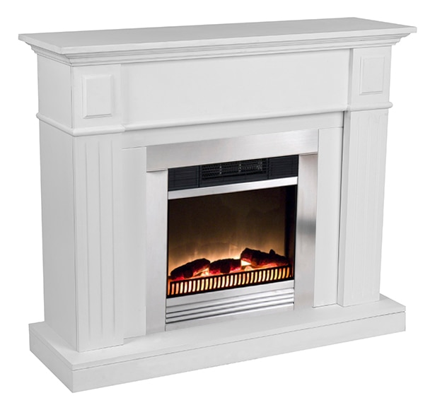 Revestimiento edco da vinci chimenea chicago blanco ref for Chimeneas electricas decorativas