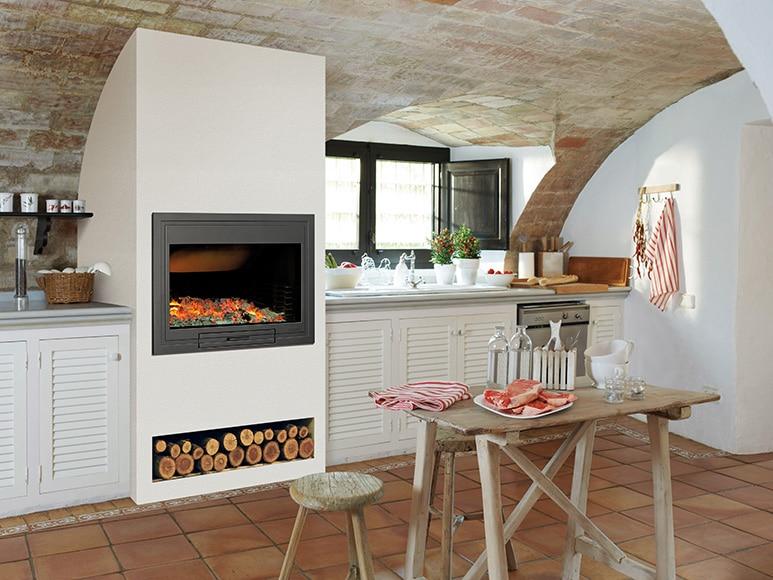 Hogar asador hergom h 04 80 ref 15954176 leroy merlin - Cocinas con horno de lena ...