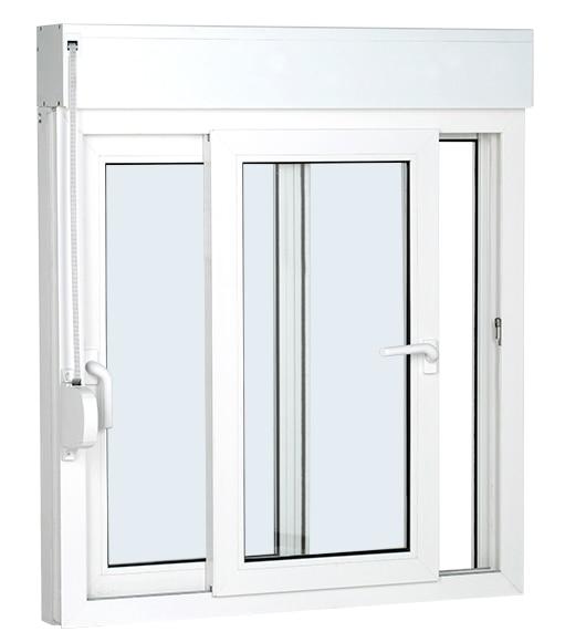 Ventana pvc corredera 140 x 125 cm corredera con persiana for Precio ventana pvc con persiana