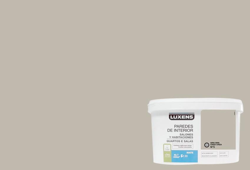 Pintura de color para paredes y techos luxens gris gris 5 for Paredes color gris