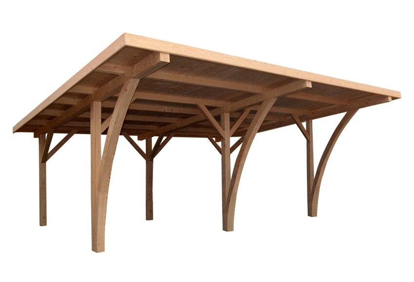 Cochera madera 6 x 5 04 m grancey ref 15554364 leroy merlin for Puertas de madera para cochera