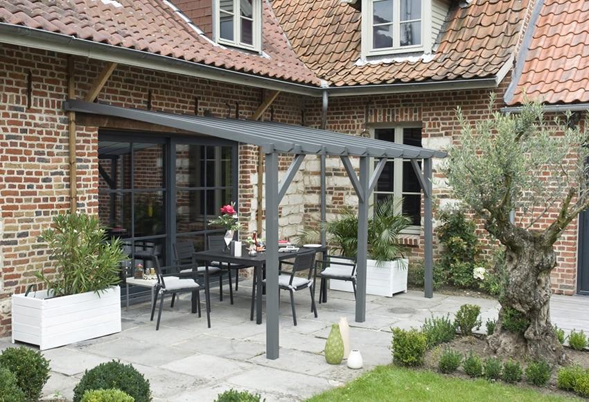 Porche de 4 x 3 m etreta ref 16280096 leroy merlin for Cerrar porche jardin