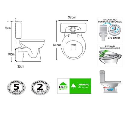 Sensea Pack de wc con salida horizontal Cretta