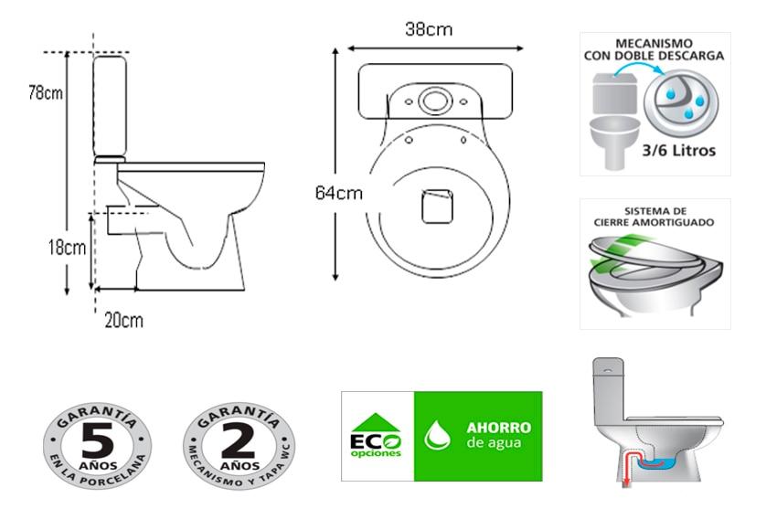 Pack de wc con salida vertical sensea cretta ref 14606494 for Instalar wc salida horizontal