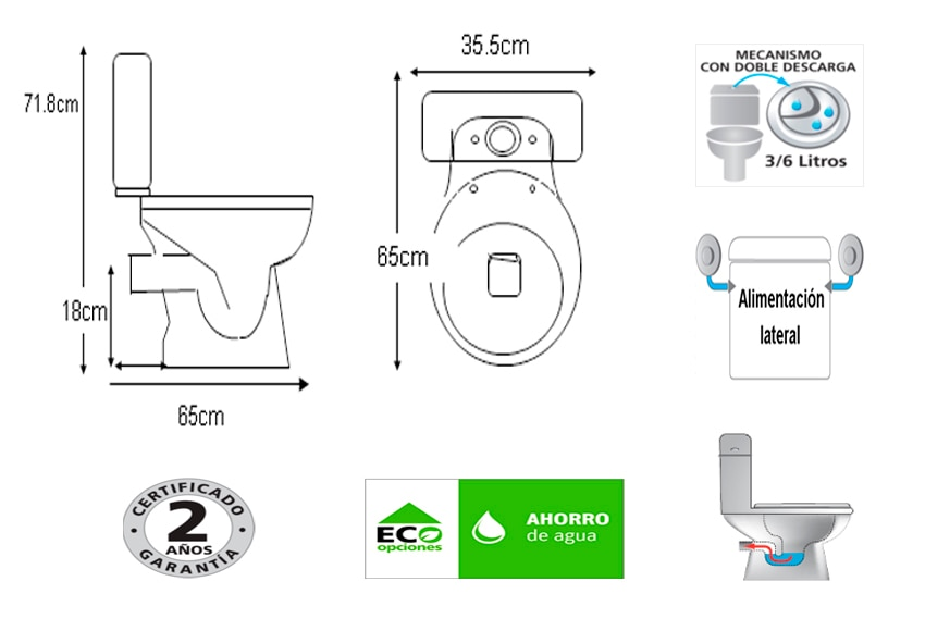 Pack de wc con salida horizontal alhama ref 15471750 for Instalar wc salida horizontal