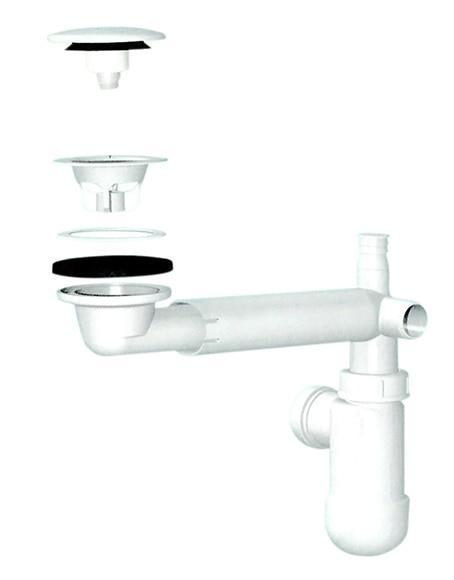 V lvula y sif n para lavabo de un seno bohemia ref 15024765 leroy merlin - Valvulas para lavabos ...