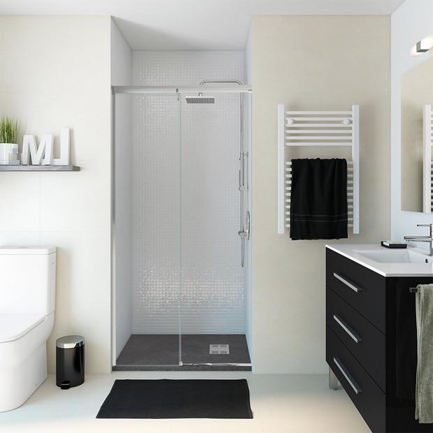 Mamparas de ducha frontales leroy merlin - Banos cuadrados con ducha ...