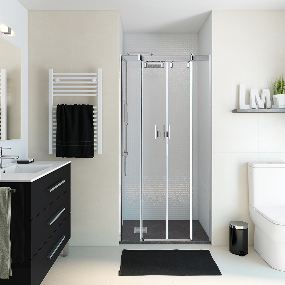Mampara de ducha vista frontal corredera dcha transparente - Mamparas frontales de ducha ...