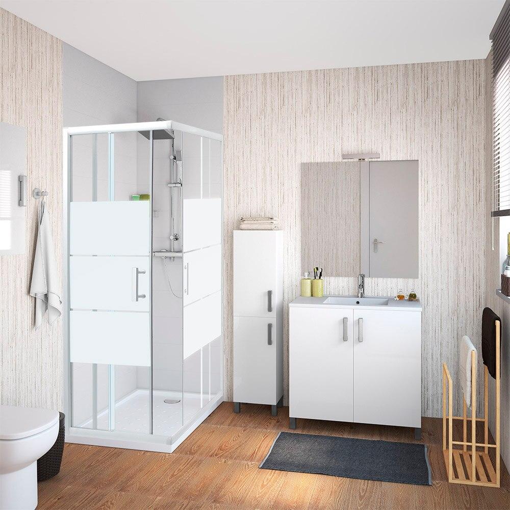 Mampara de ducha sensea optima ii rectangular blanca ref for Mampara ducha rectangular