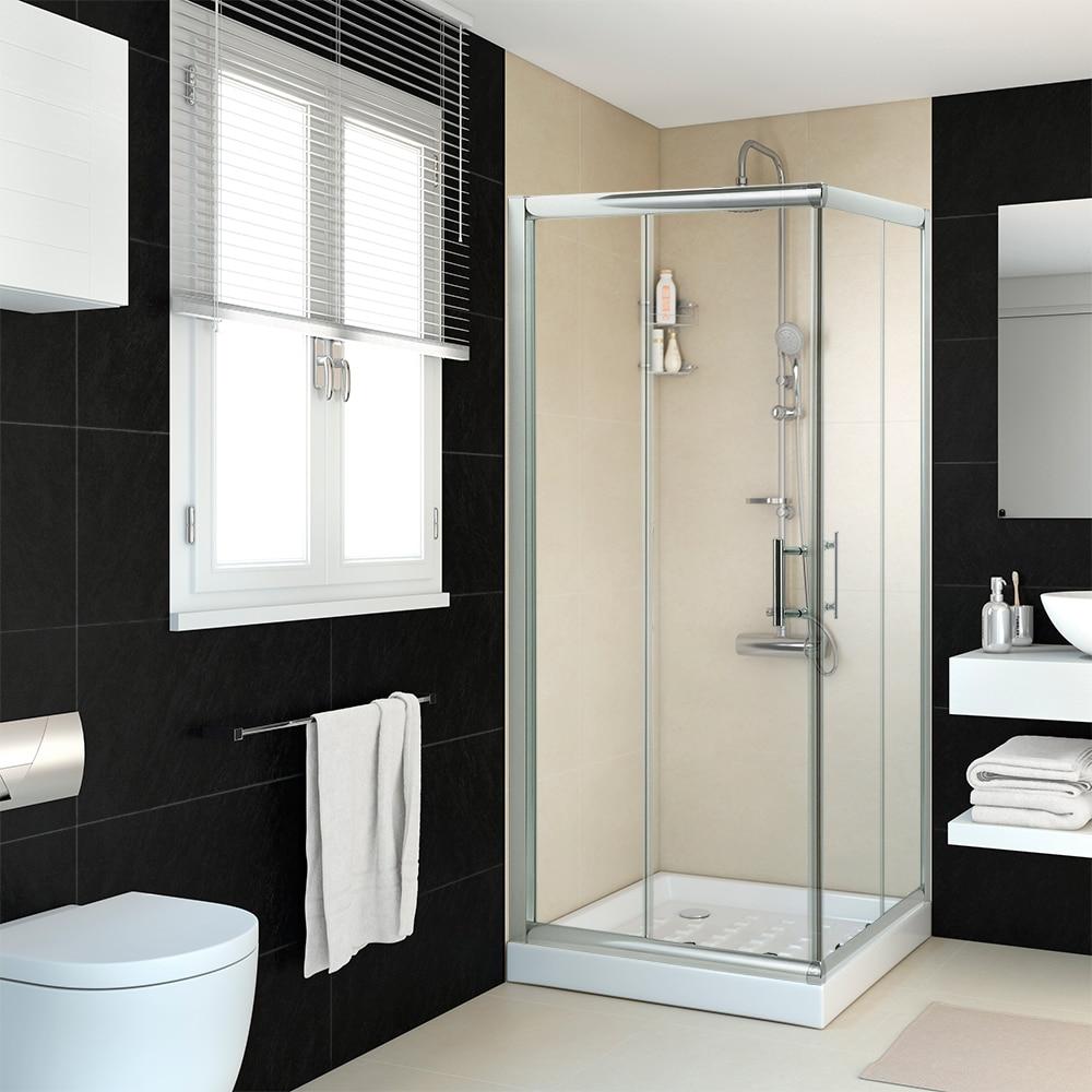 Mampara de ducha sensea mezzo cuadrada transparente cromo - Plato de ducha 70x70 ...