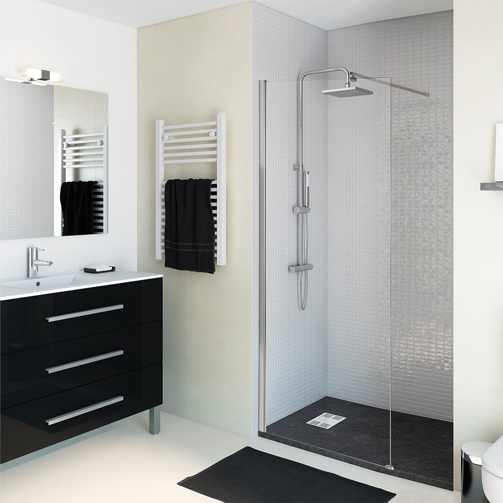 Mampara de ducha sensea panel ducha open ii transparente - Barra ducha leroy merlin ...