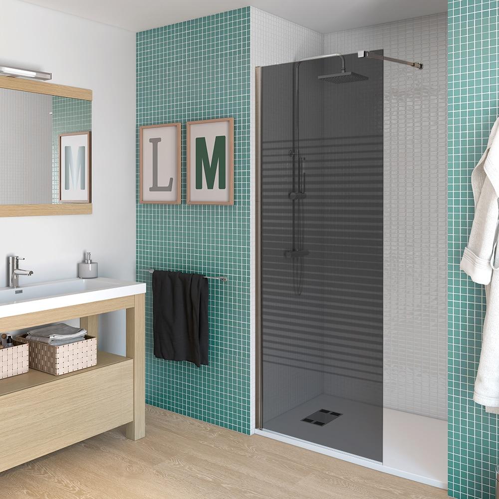 Mampara de ducha umbra panel fijo ahumado ref 15472030 - Mamparas de ducha precios leroy merlin ...