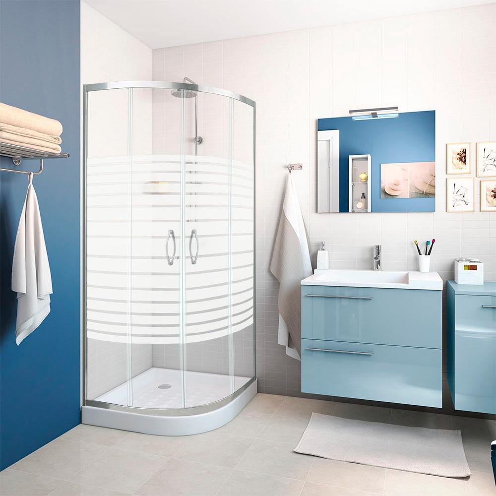 Mampara de ducha sensea mitto curva cromo ref 16287404 - Banos con azulejos azules ...