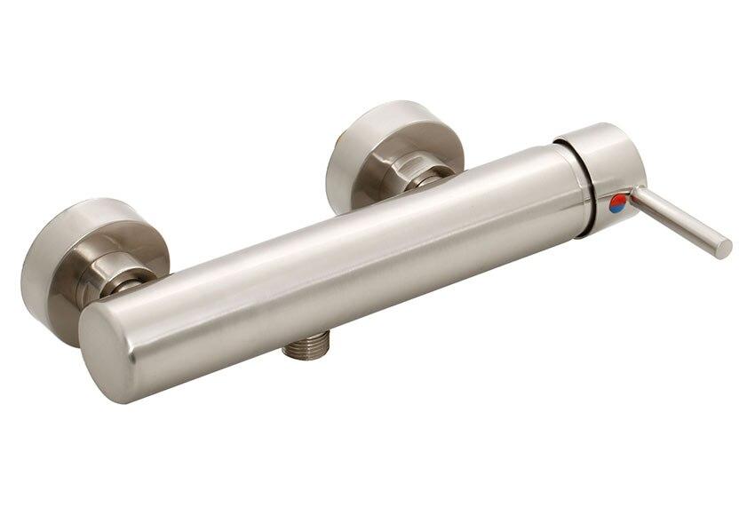 Grifo de ducha tubular inox ref 16361576 leroy merlin for Grifos mezcladores para ducha
