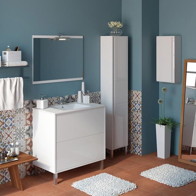 Conjunto de mueble de lavabo dakota ref 14989324 leroy for Conjunto mueble lavabo