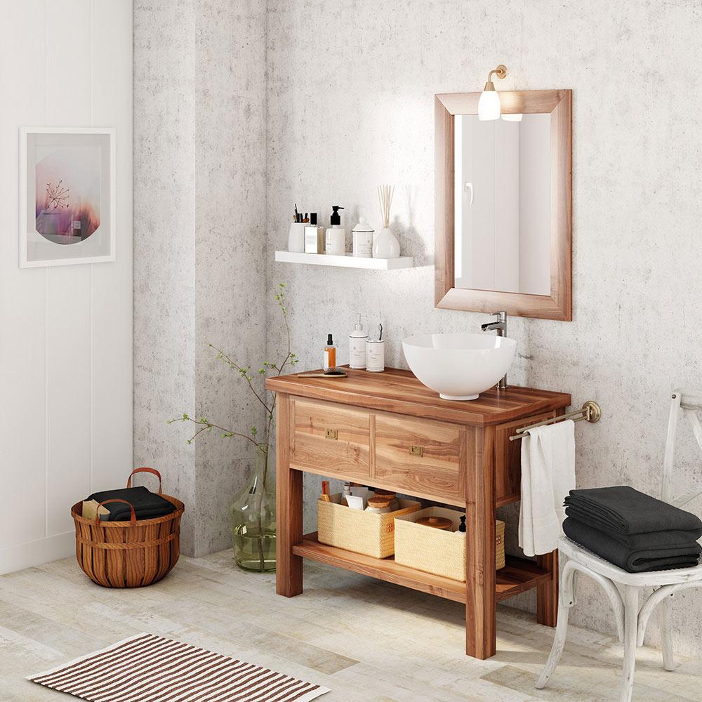 Mueble de lavabo essenza ref 17937486 leroy merlin for Muebles de bano de madera rusticos
