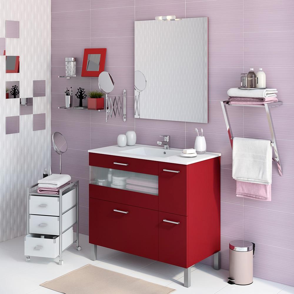 Mueble de lavabo fox ref 16729426 leroy merlin for Mueble espejo bano ikea