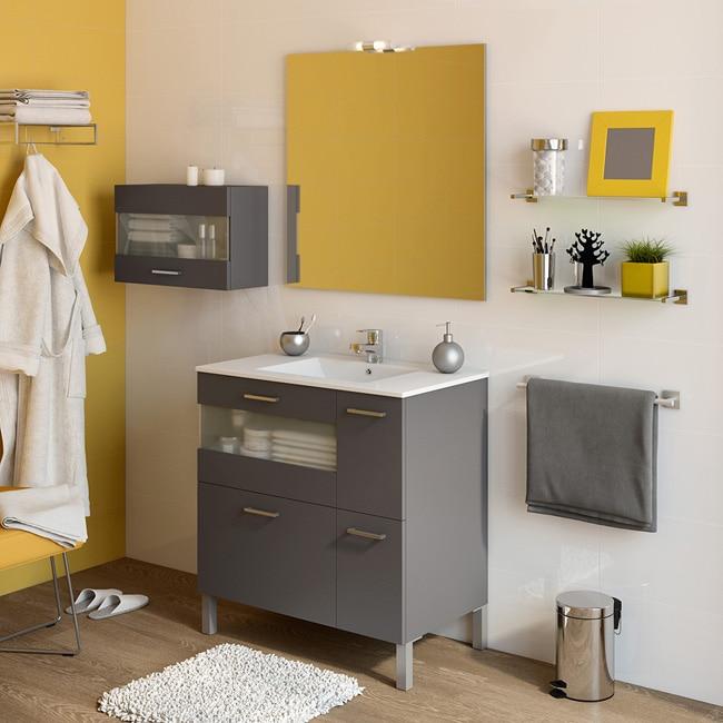 Mueble de lavabo fox ref 16729734 leroy merlin for Lavabo bajo encimera leroy merlin