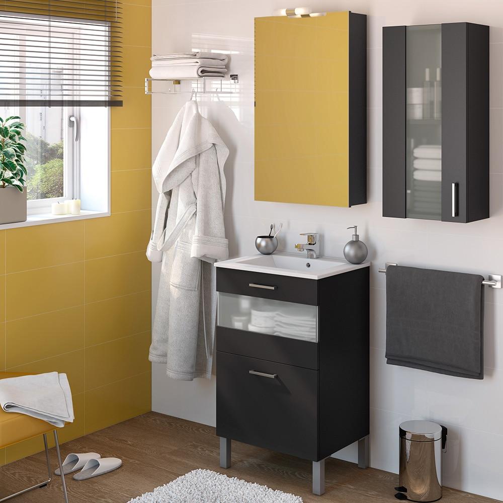 Mueble de lavabo fox ref 16732653 leroy merlin for Mueble lavabo 50 ancho