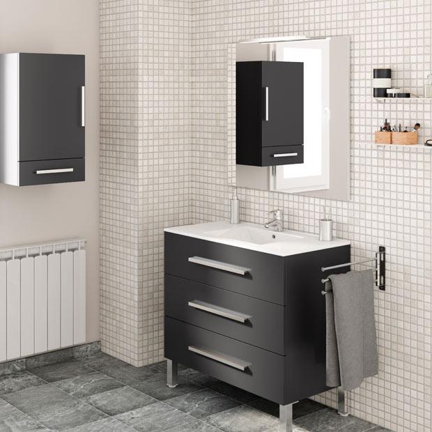Muebles de lavabo leroy merlin for Mueble bano rustico blanco