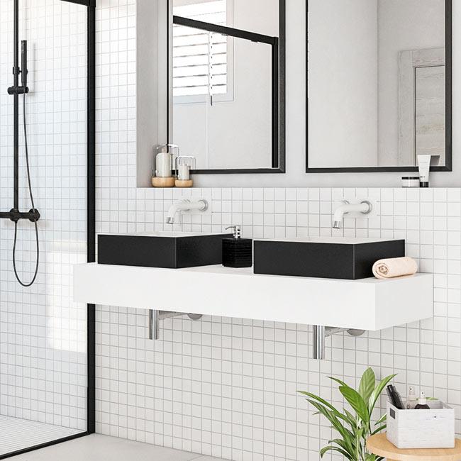 Mueble de lavabo solid surface ref 19515076 leroy merlin - Lavabos suspendidos leroy merlin ...