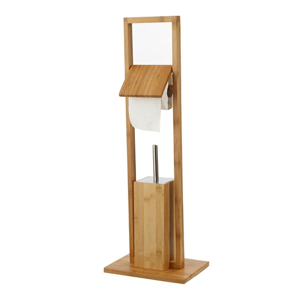 Escobillero portarrollos de pie aneko madera ref 14683333 for Toalleros de pie leroy merlin