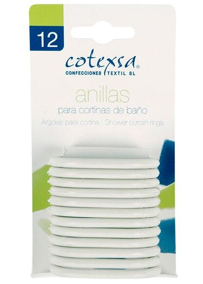 Anillas para cortina de ba o blanco 12 unidades de 4x6 ref for Anillas plastico para cortinas