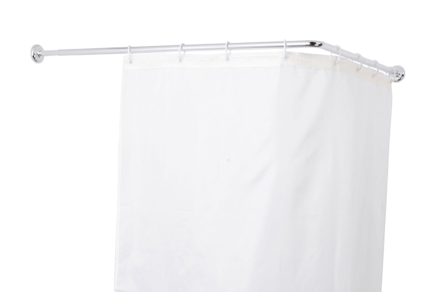 Barra para la cortina de la ducha sensea extensible cromo for Barra cortina ducha angular sin tornillos