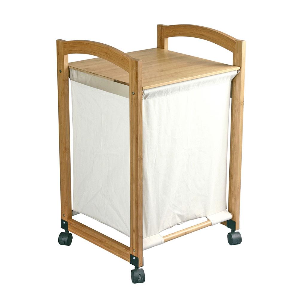 Cesto para la ropa bambu ruedas ref 19437271 leroy merlin - Cestos para ropa sucia ...