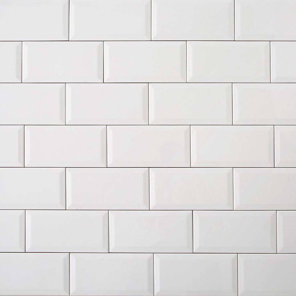 Revestimiento de cer mica 10x20 blanco serie biselado ref - Revestimientos de chimeneas leroy merlin ...