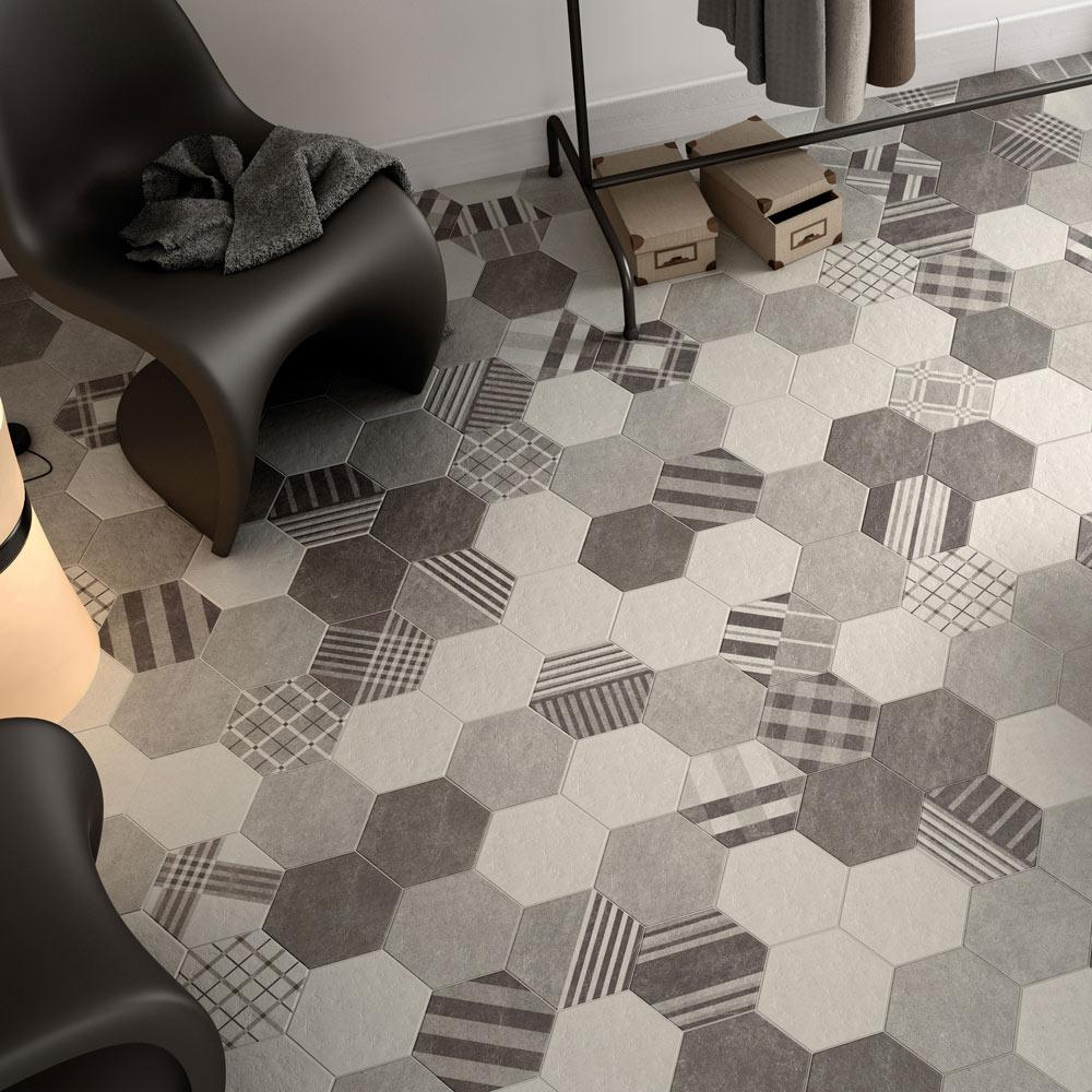 pavimento cm cement grey serie hexagonal ref. Black Bedroom Furniture Sets. Home Design Ideas
