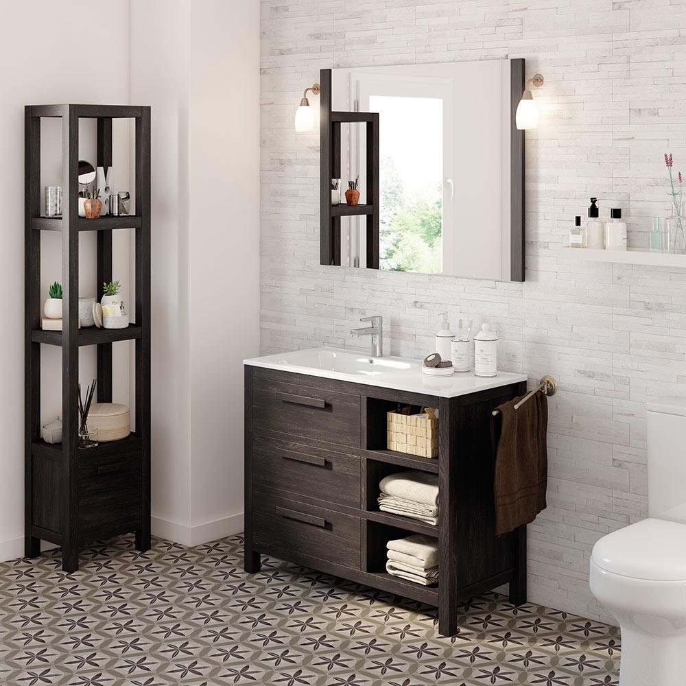 Mueble de lavabo amazonia ref 17863993 leroy merlin - Muebles de bano adaptables a lavabo con pie ...