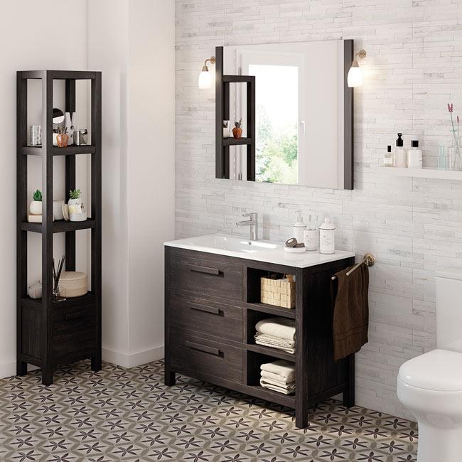 Mueble de lavabo amazonia ref 17863993 leroy merlin for Mueble lavabo pie leroy merlin
