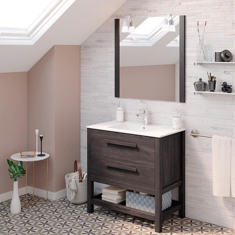Mueble de lavabo amazonia ref 17864406 leroy merlin for Mueble auxiliar lavabo