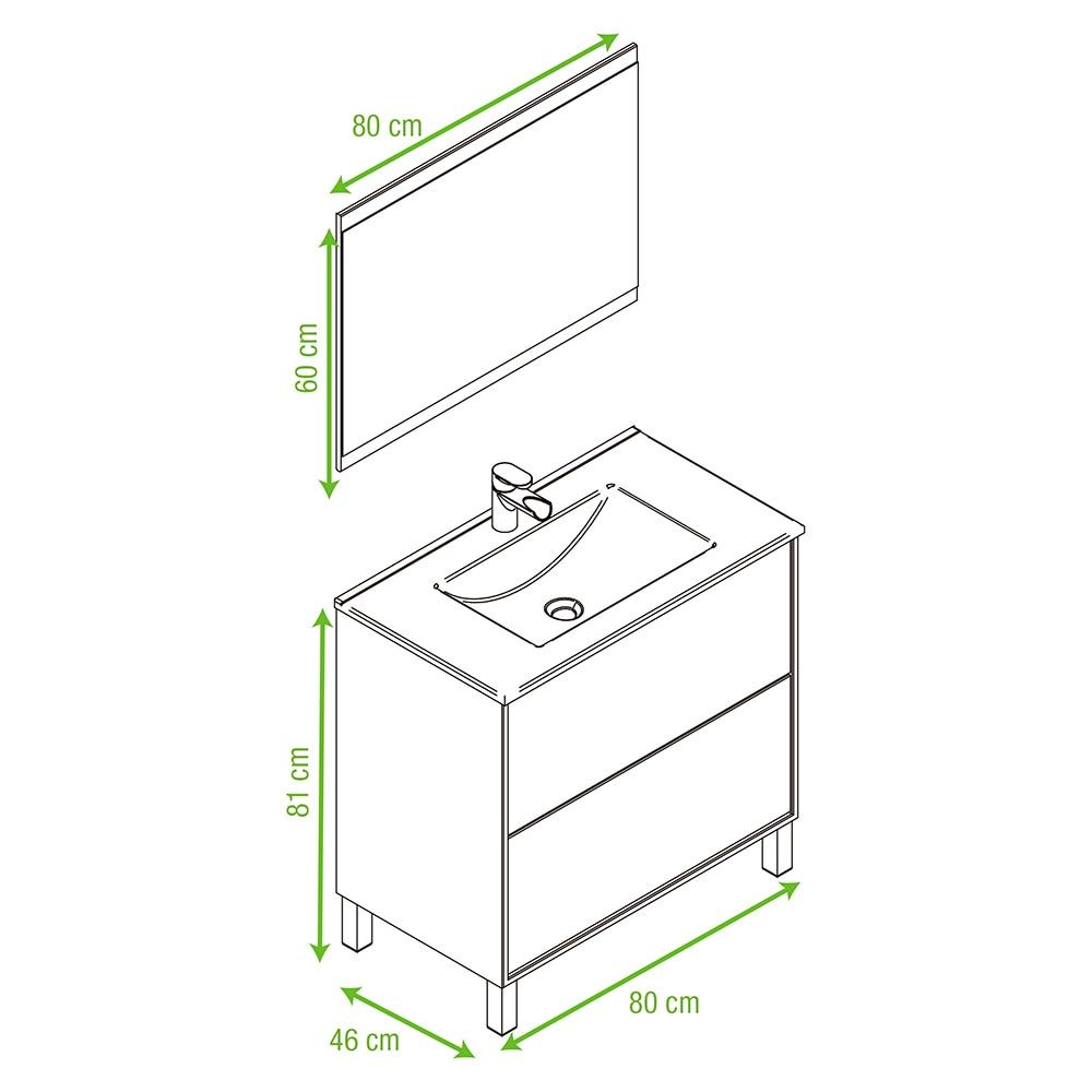 Conjunto de mueble de lavabo dakota ref 14989324 leroy - Armario bajo lavabo leroy merlin ...