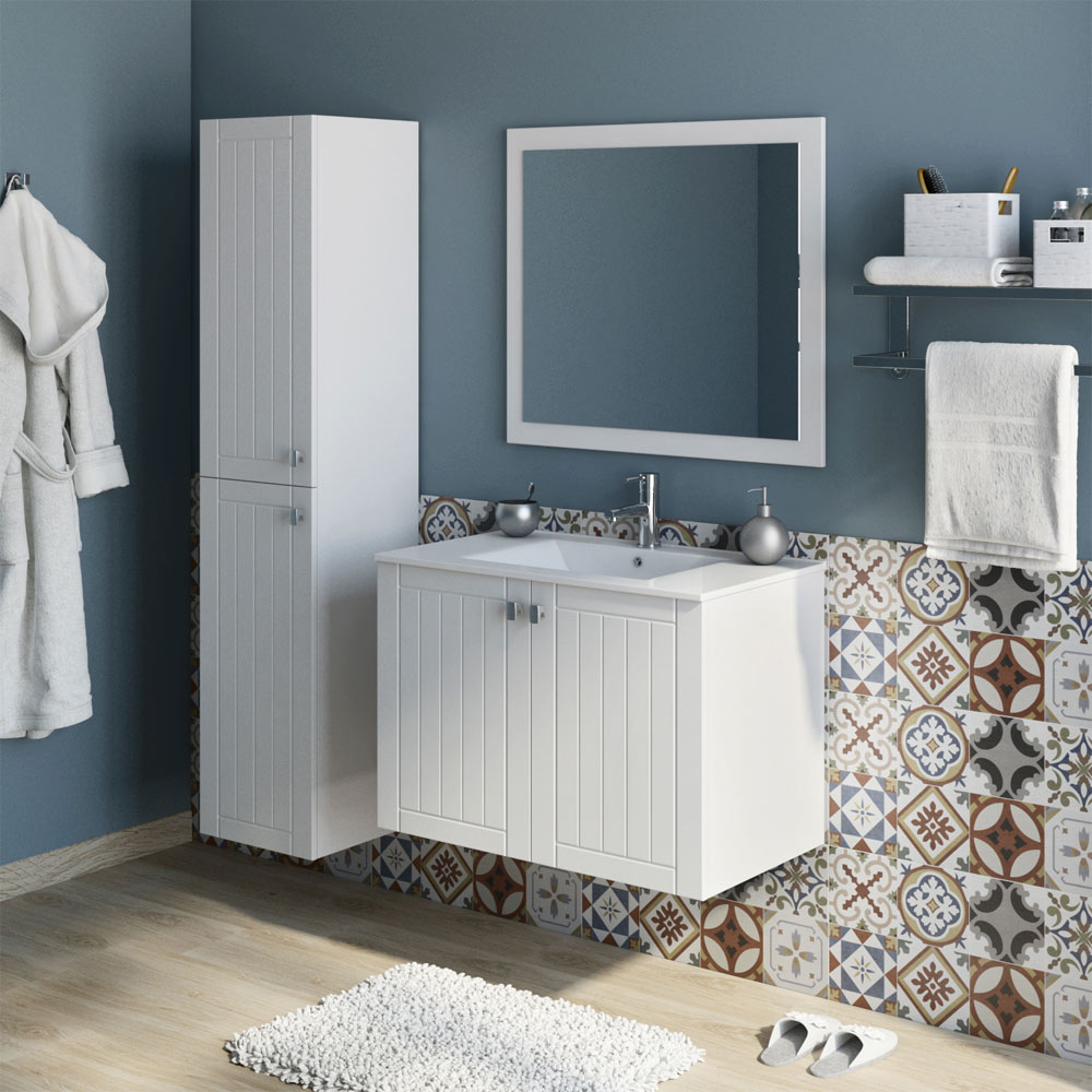 Mueble de lavabo nature ref 17710126 leroy merlin for Lavabo pequeno leroy merlin
