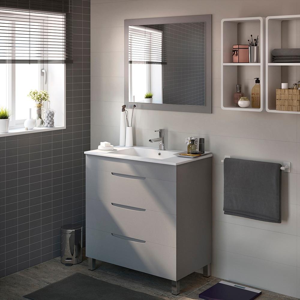 Mueble de lavabo quadro ref 17124604 leroy merlin for Mueble espejo bano ikea